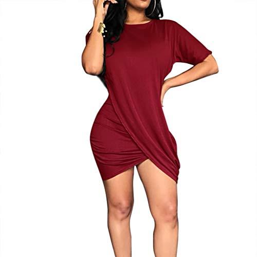 Damen Rundhalsausschnitt Kurz Kleid , LeeMon Mode Frauen Solide Oansatz Kurzarm Geraffte Minikleid Asymmetrisches Kleid - Asymmetrische Geraffte Kleid