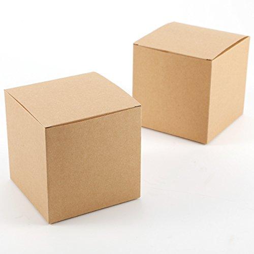 CLE DE TOUS - Set de 50 Cajas para dulces bombones Caja kraft de boda regalo Rústico 10x10x10cm Cajita de cuadro Grande Kraft Paper