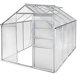 tectake 800285 Serre de Jardin en Aluminium et Polycarbonate - diverses Modèles (250x190x195cm | No. 401828)