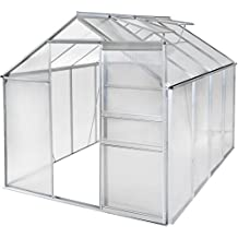 TecTake Invernadero de jardín con 2 ventanas policarbonato aluminio casero plantas cultivos   7,7m³   250x190x195cm