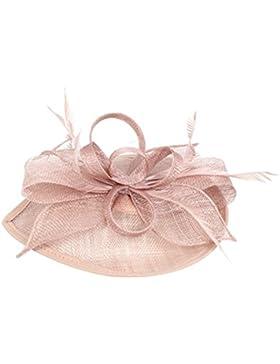 Frcolor tocado de mujer para bodas o fiestas, con plumas rosa rosa S