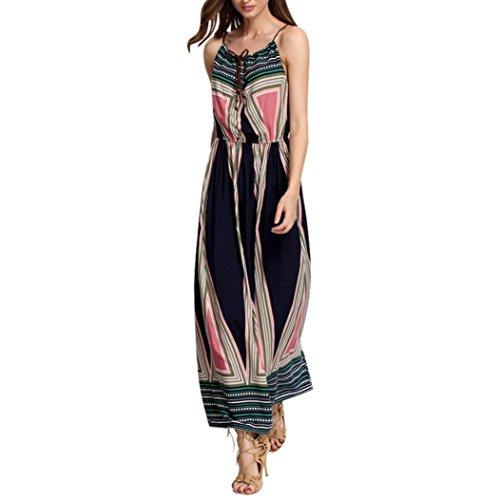 Frauen Ärmelloses langes Kleid,Kingwo Damen Strandkleid Sommer Boho Sundress Geometrisches Drucken Bohemian Maxi Kleid (L, Schwarz)