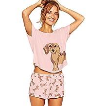 Dooxi Mujer Verano Encantador Perro Pijama Manga Corta T Shirts y Pantalones Cortos 2 Piezas