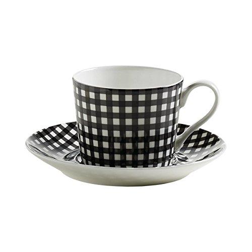 Maxwell & Williams S84006 Art Deco Tasse mit Untertasse, Kaffeetasse, Karo, in Geschenkbox, Porzellan - Art Deco Porzellan