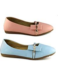 TEQTO Women's Pink And Blue Pack Of 2 Ballerinas {Combo-08}
