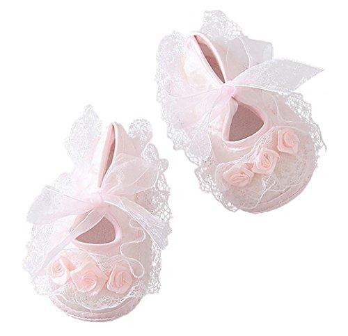 Happy Cherry Chaussures Baptême Bébé Fille Souple Dentelle Fleur Princesse Cérémonie Mariage Soirée Anniversaire FR taille 17 18 19 20 0-12mois Rose/Blanc