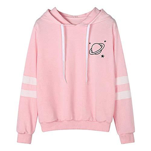 ShallGood Damen Frauen Langarm Sweatshirt Printed Hoodie Streetwear Vintage Casual Hoodies Langarm Kapuzenpulli Sweatshirt Pullover Tops Bluse Stickerei Kapuzen Sweatshirt Rosa DE 34