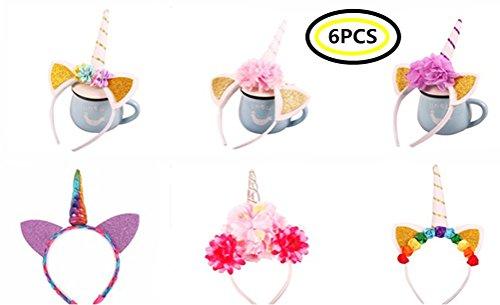 Halloween Geburtstagsfeier Party Fancy Hairband Cosplay Kostüm Haarband Prinzessin Einhorn Für Frauen Mädchen Kinder Haar Hoop (Zufälliger Stil 6PACK) (Einzigartige Ein Von Einer Art Halloween-kostüme)