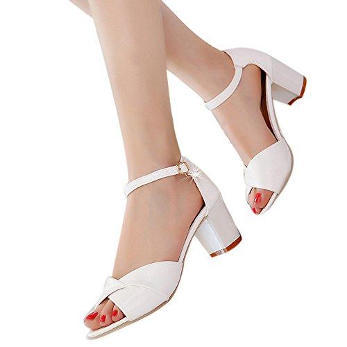 Mujer Peep-Toe Zapatos De Tacón Ancho Medio De Color