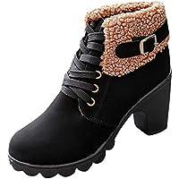 Sonnena Damen Elegant Gürtelschnalle Lederstiefel Warm Faux-Stiefel Sexy  High Heels Stiefeletten Einzelne Stiefel Martin 822d83d679