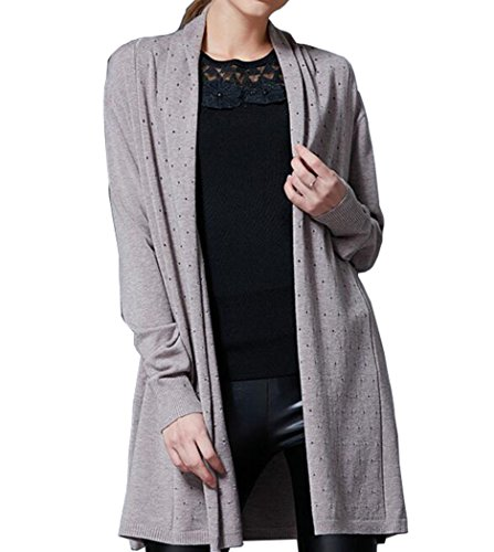 pqdaysun Women's Open Front Long Sleeve Thin Knit Cardigan Lightweight Soft Tops