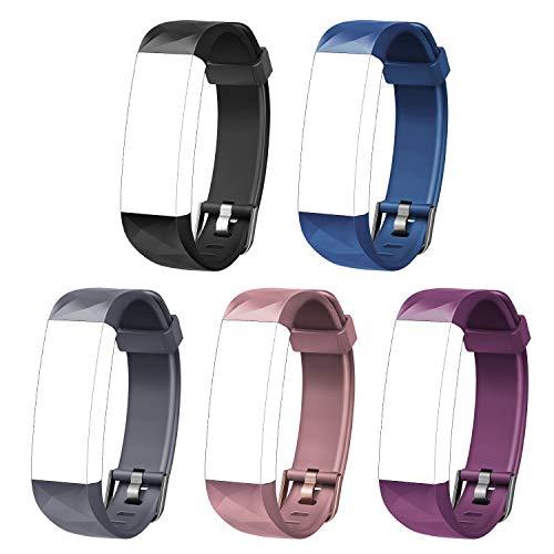 Letsfit Ersatzbänder geeignet für Fitness Armband Uhr ID131Color HR, verstellbare Zubehörbänder mit Gürtelschnalle (Pink Schwarz Blau Lila Grau)