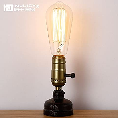 Injuicy Lighting Retro Loft Vintage Industrial Steampunk Wrought Iron E27 Edison Metal Table Lights Rustic Led Water Pipe Desk Lamp Bedside Living Room Bedroom Home Deco Lighting with Switch