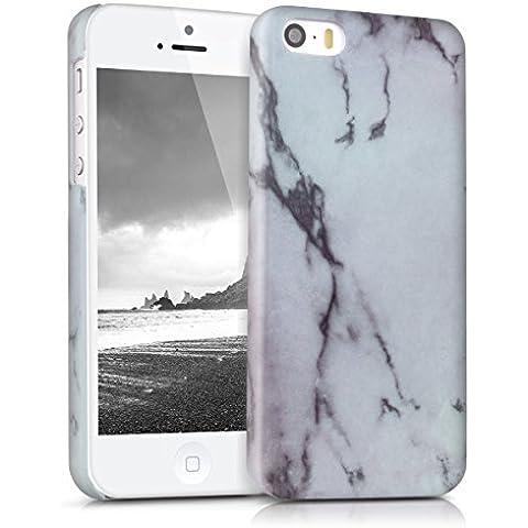 kwmobile Funda Hardcase Diseño mármol para Apple iPhone SE / 5 / 5S en blanco negro