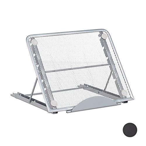 Relaxdays Tablet Ständer, verstellbare Tischhalterung, Tablets bis 12 Zoll, Smartphones, Metall Ständer, silber