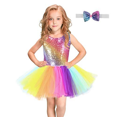 FEIXIANG Kleine Mädchen Kostüm Kleid Ärmellos Pailletten Prinzessin Kleid Regenbogen Tüll Paillette Kleid Tanzkleid Stirnbänder Outfits Set 2-10 Jahre alt
