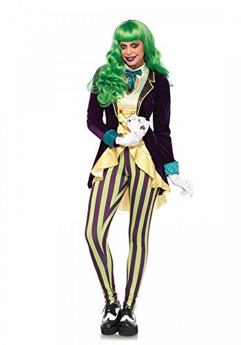 Wicked Trickster Joker Damen-Kostüm von Leg Avenue Batman Gotham Trickbetrüger Gauner Schwindler, (Kostüm Weiblich Joker)