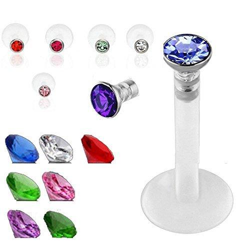 SQdeal® Lot of 7 Mix color Premium Czech Crystal Gem Labret Monroe Lip Ring UV bio-flex Bar Piercing 16g by SQdeal (Lip 16 G Ringe)