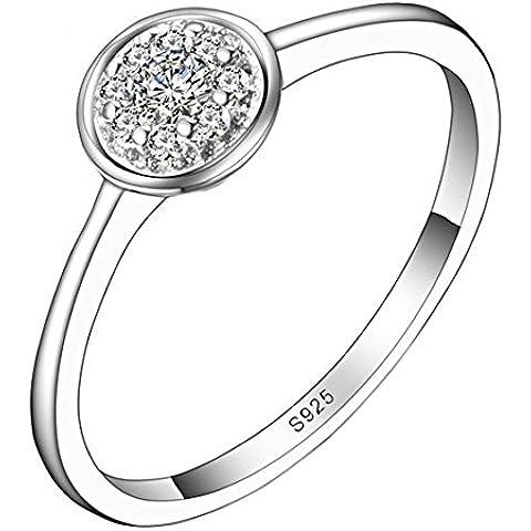 So Chic Gioielli - Anello di Fidanzamento Lilou - Solitario Cerchio Incastonato - Zirconia Cubica Bianco Argento Sterling 925