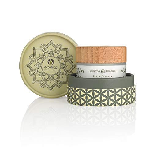 Ecodrop Organic Cream pour le visage, crème quotidienne avancée pour femmes et hommes, 100% d'ingrédients naturels, pour hydratation et rajeunissement, végétalien, emballage écologique