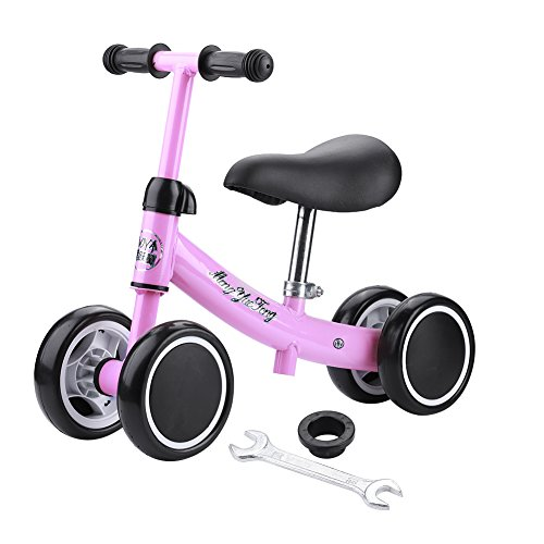 SKIESOAR Baby Balance Bike No Pedal Baby Car Ride on Toy for 1-3 Years Old Children Walker Ages 12-36 Months Durable Toddler Tricycle Infant First Birthday Gift Indoor Outdoor (Pink)