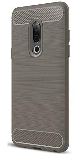 XINFENGDI Meizu 15 Plus Hülle, Tasche mit Stoßdämpfung Robuste TPU Stylisch Karbon Design Handyhülle Case Hülle für Meizu 15 Plus - Grau