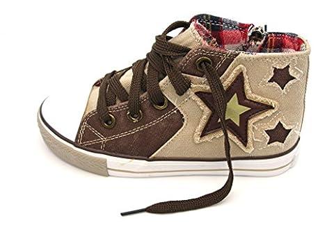 Tante Tina - Jungen Patchwork Sneakers / Skaterschuhe mit Sternchen - Beige/Braun - Gr. 35