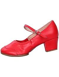 d18e39d7f469 Yudesun Dance Character Shoes Women - Ladies Low Block Heel Shoes Dancewear  Leather Shoe Mary Janes Modern Cuban Latin Syllabus…