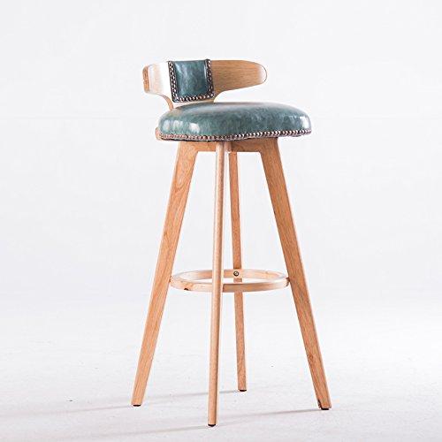 CAICOLORFUL Meubles modernes Chaise de bar Chaises de réception en bois massif Rotation de 360 degrés (Couleur : Bleu)