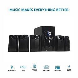 Starc Dark Knight 5.1 Speaker System with Bluetooth,USB,FM Radio,AUX-IN,Black