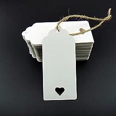 Idea Regalo - Stonges 100 pezzi bianco Kraft Paper Tag Blank per carte di favore di nozze, tag regalo, tag fai da te, etichetta bagagli, prezzo etichetta, negozio Hang Tag (100) con cuore