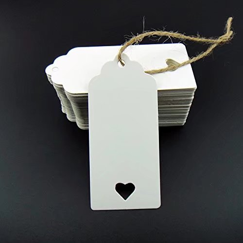 (Stonges 100 Stück weiß Kraftpapier Tag Blank für Hochzeit Gunsten Karten, Geschenkanhänger, DIY Tag, Kofferanhänger, Preisschild, Store Hang Tag (100) mit Herz)