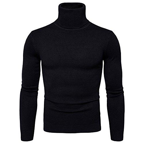 Sunshey Herren Basic Pullover mit Rollkragen einfarbig Rollkragenpullover Feinstrick aus Baumwolle sehr Weich Hochwertig, Schwarz, Gr. XL (Pullover Schwarzen Rollkragen)