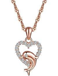 yumilok Jewelry–Pendientes de plata de ley 925plata bañado en oro rosa circonitas cúbicas Lovely delfín corazón colgante collar para las mujeres/niñas