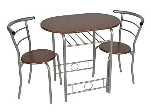 ts-ideen Set di 3 pezzi da pranzo Tavolo con struttura in alluminio sedie +  MDF in argento e marrone 75 x 80 cm per la cucina sala da pranzo