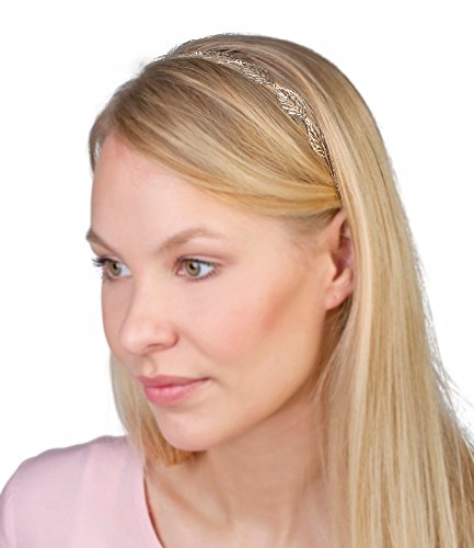 SIX elastisches Haarband Kopfband mit filigranen silbernen Blättern griechische Göttin Cleopatra (252-895)