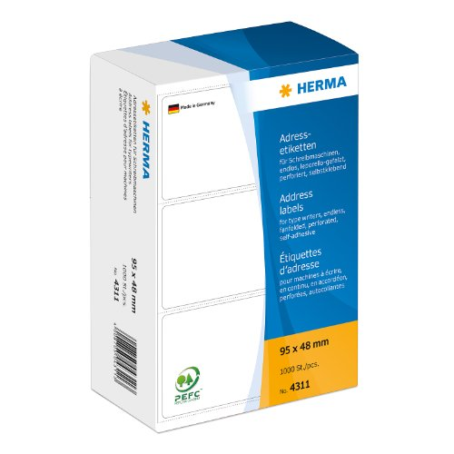 Herma 4311 Schreibmaschinen Adressetiketten endlos (95 x 48 mm) weiß, 1.000 Adressaufkleber, Papier matt, selbstklebend, perforiert, Leporello-Falz