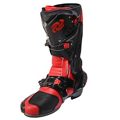 WERT Stivali da Moto per Uomo Armatura Sportiva Protettivo Stivali da Moto su Strada Stivaletti Alti Antiscivolo Stivali da Ciclismo,Red-43