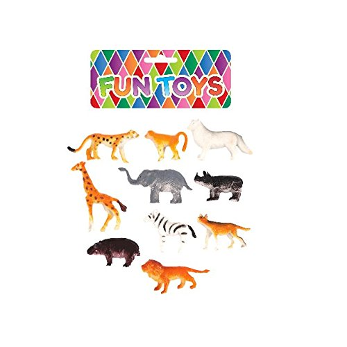 10 Assortis Mini Zoo Jungle Plastique Figurines Animaux Éléphant Tigre Girafe Jouets
