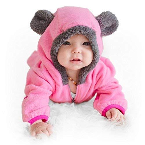 Funzies giacca leggera in pile - capispalla pigiama invernale per bambino orso rosa 3-6 meses