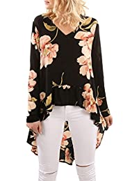 LILICAT Frauen Langarmshirt Chiffon Shirt Blumen Drucken Lange Ärmel Mode  Hemd Damen Oberteile Casual Bluse Rüschen 2f54cf15f0