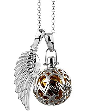 [Gesponsert]Nenalina Silber Halskette mit Engelsflüsterer Anhänger, Klangkugel und Engel Flügel Anhänger | Damen Collier mit...