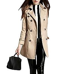 Mujer Trench Foso Capa Chaqueta Larga con Cinturon Abrigo