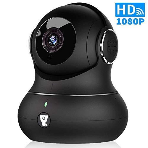Littlelf WLAN IP Kamera, Überwachungskamera Innen Handy 1080P mit Zwei Wege Audio, Nachtsicht, Bewegungserkennung, Fernalarm, Baby/Haustier/Zahause Monitor, Unterstützt SD-Card und Cloud-Speicher