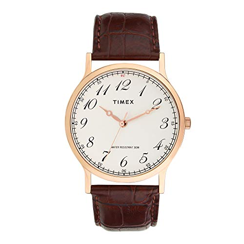 Timex White Dial,Brown Leather Watch for Men's- TW000CP18