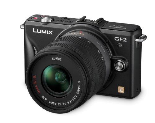 Panasonic Lumix DMC-GF2KEG-K Systemkamera (12 Megapixel, 7,5 cm (3 Zoll) Display, Full HD, bildstabilisiert) mattschwarz Kit mit Standardzoom 14-42 mm schwarz