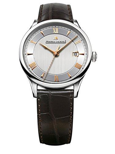 Uhr MAURICE LACROIX mp6407-ss001–110–1Herren-Uhr mit Leder-Armband Braun
