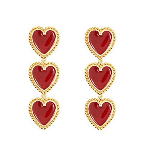Alwayswin Damen Anhänger Ohrringe Vintage baumeln Ohrringe Lange Ohrringe Frauen Mode Ohrringe Schmuck Geschenk Rote Liebe Geometrie Emaille Ohrringe Damenmode Ohrringe Modeschmuck -