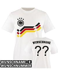 Kinder Fußball T-Shirt bedruckbar - WUNSCHNAME & NUMMER - WM / EM / DEUTSCHLAND - Rundhals Shirt für Mädchen & Jungen in Weiß - Deutschland Retro-Trikot in div. Größen