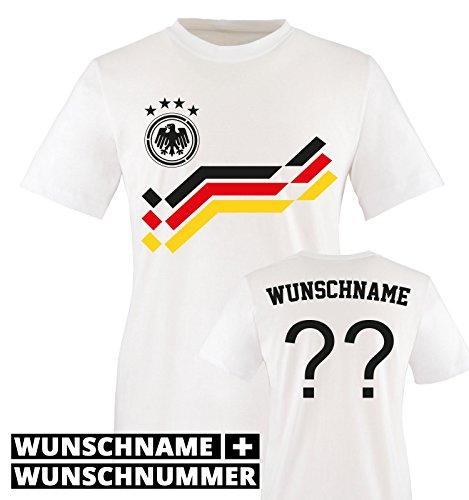 EM 2016 - RETRO-TRIKOT - WUNSCHDRUCK - Kinder T-Shirt - Weiss/Schwarz-Rot-Gelb Gr. 98-104 (Fußball-trikot Kinder Deutschland)